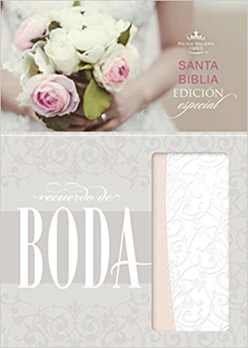 Biblia RVR 1960 Recuerdo de Boda Filigrana Blanca/rosa Palo Simil Piel